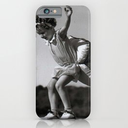 Girls Have to be Ready for Anything - Little girl on roller skates with pillow black and white photograph iPhone Case