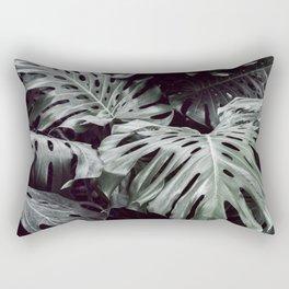 Tropical Leaves Cool Blue Rectangular Pillow