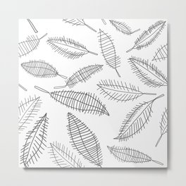 Feather Leaves in Black White Metal Print