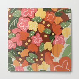 Folk Flowers Metal Print