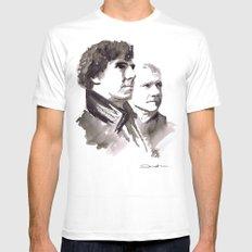 Sherlock and Watson MEDIUM White Mens Fitted Tee