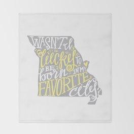 Meet Me In St. Louis - Yellow & Gray Throw Blanket