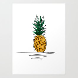 One Line Pineapple1 Art Print