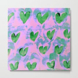 Waving Hearts ~ Green With Love Metal Print