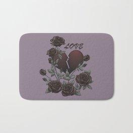 Black Roses Broken Heart Lost Love Bath Mat