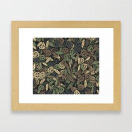 Tropical leaves camouflage Framed Art Print