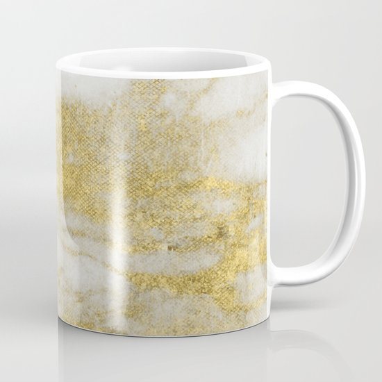 Marble - Glittery Gold Marble and White Pattern by naturemagick