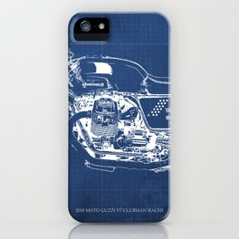 Motorcycle blueprint,2010, Moto V7, Clubman racer,poster,man cave decoration,vintage art,blue poster iPhone Case