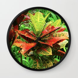 Exotic Tropical Jungle Plant From Maui, Hawaii Wall Clock