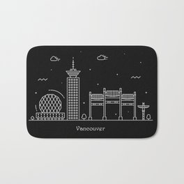 Vancouver Minimal Nightscape / Skyline Drawing Bath Mat