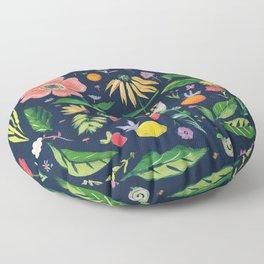 Flowers on blue Floor Pillow
