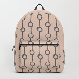 Minimalist Vertical Dot Stripe Navy Gray on Blush Pink Backpack