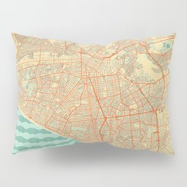 Lima Map Retro Pillow Sham