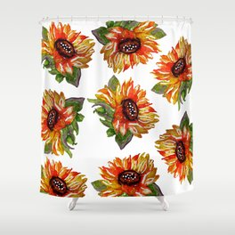Sunflower Watercolor - Yellow Floral Shower Curtain
