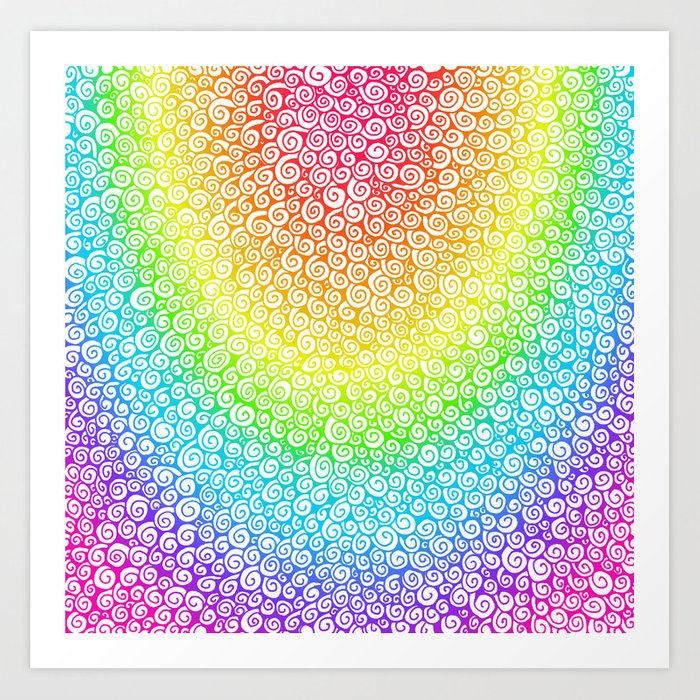 Rainbow Spiral Drawing Art Print by ithelda | Society6