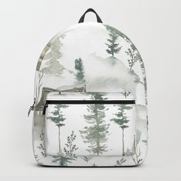 Winter scene houses and trees pattern Backpack