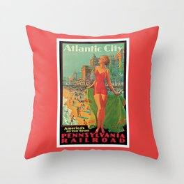 Atlantic city vintage bathing beauty Throw Pillow