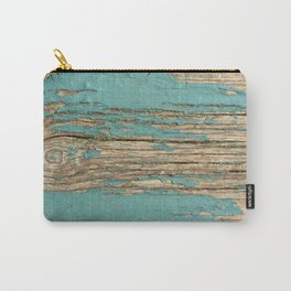 Rustic Wood Ages Gracefully - Beautiful Weathered Wooden Plank - knotty wood weathered turquoise pai Carry-All Pouch