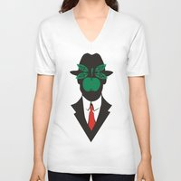 magritte V-neck T-shirts featuring René Magritte by Fen_A