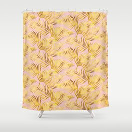 Palm Leaves_Gold and Rose Quartz Shower Curtain