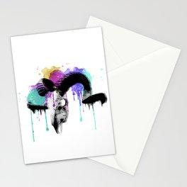 watercolor ram skull Stationery Cards