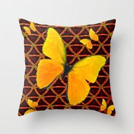 YELLOW BUTTERFLIES BROWN ART Throw Pillow