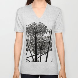 Queen Anne's Lace from a bug's view Unisex V-Neck