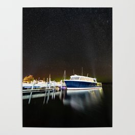 Boats under the milky way Poster