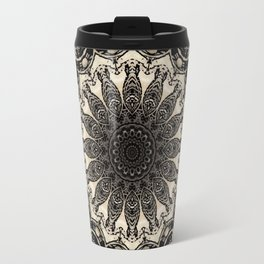 Neutral Abstract Black Ink Bohemian Mandala Travel Mug