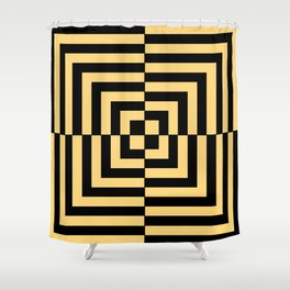 Graphic Geometric Pattern Minimal 2 Tone Illusion Squares (Golden Yellow & Black) Shower Curtain