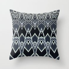 Art Deco Abstract Pattern Leaves - black white Throw Pillow