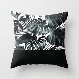 Palm Leaves and Black Throw Pillow