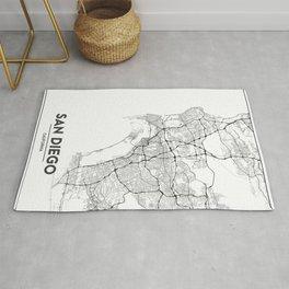Minimal City Maps - Map Of San Diego, California, United States Rug