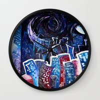 starry night Wall Clocks featuring Todays' 'Starry Starry Night' by Cassandra Evelyn