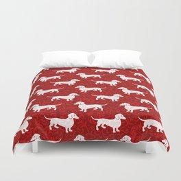 Merry Christmas Dachshunds Duvet Cover