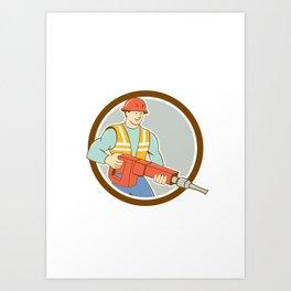 Construction Worker Jackhammer Circle Cartoon Art Print