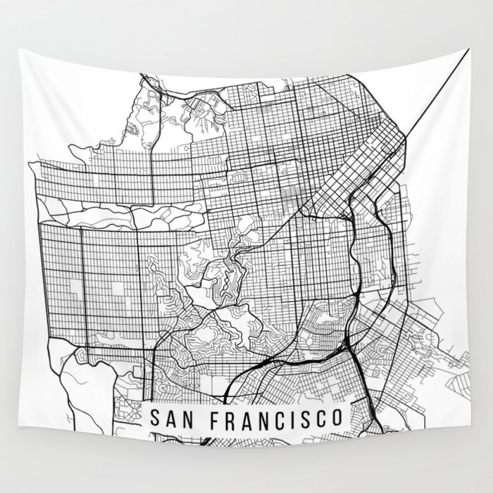 San Francisco Map, California USA - Black & White Portrait Wall Tapestry on usa map seattle, usa map washington, usa map chicago, usa map san diego, usa map in miami, usa map denver, usa map boston, usa map toronto,