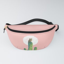 Quirky owl on saguaro cactus Fanny Pack