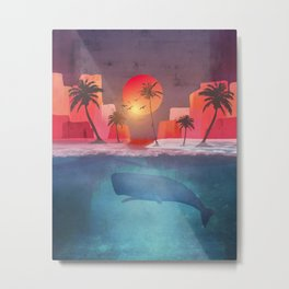 Tropical island and the whale Metal Print
