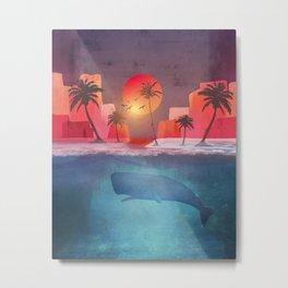 Tropical island and the whale Metal Print
