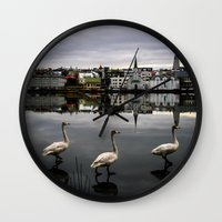 iceland Wall Clocks featuring Iceland Geese by Michelle McConnell