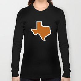 Texas Outline in Burnt Orange, Longhorns Long Sleeve T-shirt