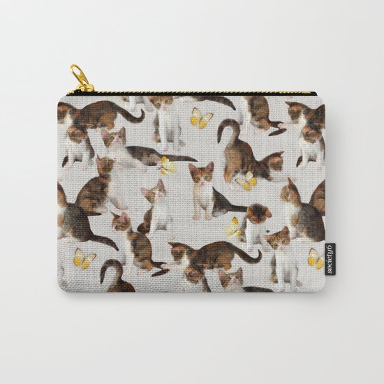 Kittens and Butterflies - a painted pattern Carry-All Pouch