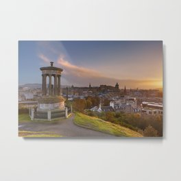 Skyline of Edinburgh, Scotland from Calton Hill at sunset Metal Print