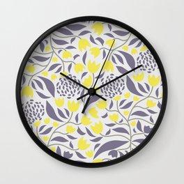 Yellow flowers field Wall Clock