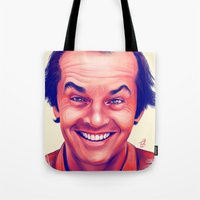 jack nicholson Tote Bags featuring Young Jack Nicholson and the evil smile - digital painting by Thubakabra