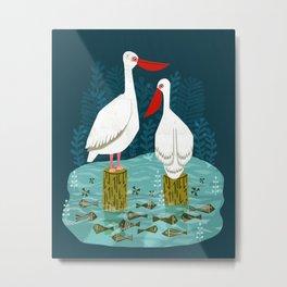 Two Pelicans by Andrea Lauren  Metal Print