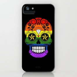 Gay Pride Rainbow Flag Sugar Skull with Roses iPhone Case