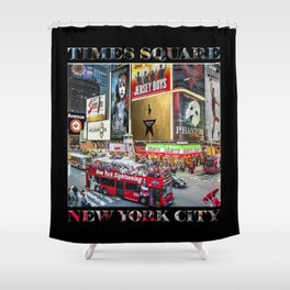 Times Square II (widescreen on black) Shower Curtain