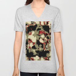 vintage psychedelic geometric painting texture abstract in red brown black Unisex V-Neck